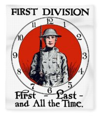 Us Army First Division - Ww1 Fleece Blanket