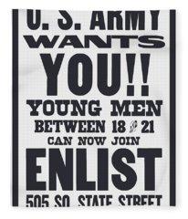 Us Army Wants You - Ww1 Fleece Blanket