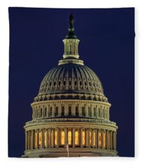 U.s. Capitol At Night Fleece Blanket