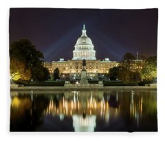 Us Capitol Night Panorama Fleece Blanket
