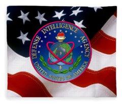 U. S. Defense Intelligence Agency - D I A Emblem Over Flag Fleece Blanket