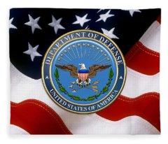 U. S. Department Of Defense - D O D Emblem Over American Flag Fleece Blanket