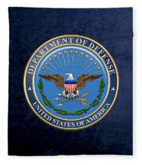 U. S. Department Of Defense - D O D Emblem Over Blue Velvet Fleece Blanket