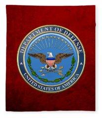 U. S. Department Of Defense - D O D Emblem Over Red Velvet Fleece Blanket