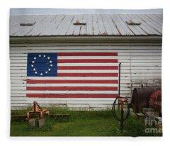Us Flag Barn Fleece Blanket