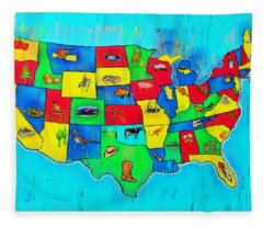 Us Map With Theme  - Free Style -  - Da Fleece Blanket