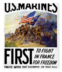 Us Marines - First To Fight In France Fleece Blanket