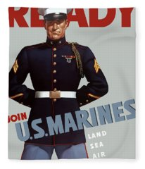 Us Marines - Ready Fleece Blanket
