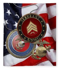 U. S. Marines Sergeant - U S M C Sgt Rank Insignia Over American Flag Fleece Blanket