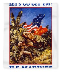 Us Marines - Ww2  Fleece Blanket
