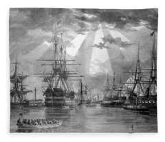 U.s. Naval Ships At The Brooklyn Navy Yard Fleece Blanket
