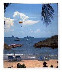 Us Navy Off Pattaya Fleece Blanket