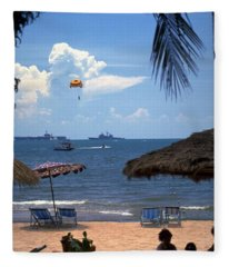 Us Navy Off Pattaya Fleece Blanket