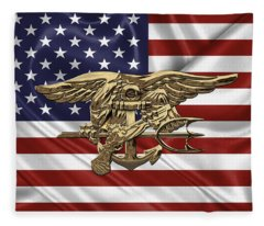 U.s. Navy Seals Trident Over U.s. Flag Fleece Blanket