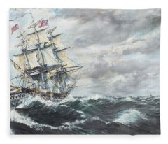 Uss Constitution Heads For Hm Frigate Guerriere Fleece Blanket