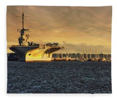 Uss Yorktown Cv10 Harbor Fleece Blanket