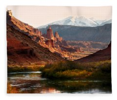 Utah Colorado River Spires Fleece Blanket