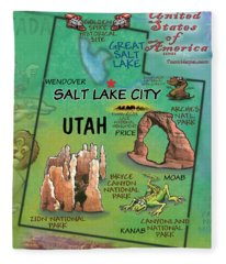 Utah Fun Map Fleece Blanket