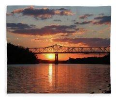 Utica Bridge Sunset Fleece Blanket