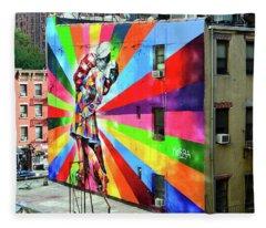 V - J Day Mural By Eduardo Kobra # 2 Fleece Blanket