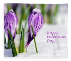 Valentines Day Crocuses Fleece Blanket
