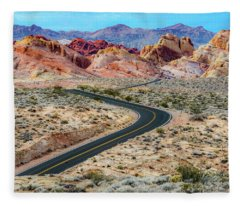 Road Through The Valley Of Fire Fleece Blanket