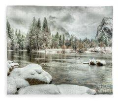 Valley View Winter Storm Yosemite National Park Fleece Blanket