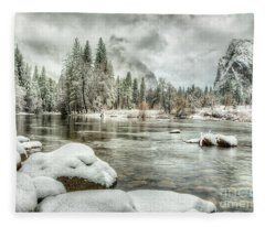Valley View Winter Storm Yosemite National Park Fleece Blanket