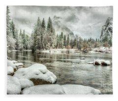 Valley View Winter Yosemite National Park Fleece Blanket