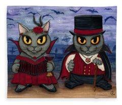 Vampire Cat Couple Fleece Blanket