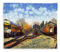 Van Gogh.s Train Station 7d11513 Fleece Blanket