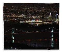 Vancouver At Night Fleece Blanket