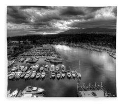 Vancouver Marina Sunset Fleece Blanket