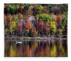 Vanishing Autumn Reflection Landscape Fleece Blanket