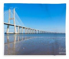 Vasco Da Gama Bridge, Lisbon Fleece Blanket