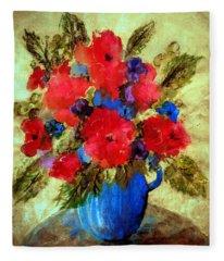 Vase Of Delight-still Life Painting By V.kelly Fleece Blanket
