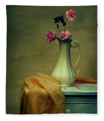 Vase Of Pink Roses Fleece Blanket