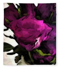 Vase Of Roses With Shadows 2 Fleece Blanket