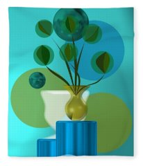 Vase With Bouquet Over Blue Fleece Blanket