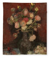 Vase With Chinese Asters And Gladioli Fleece Blanket