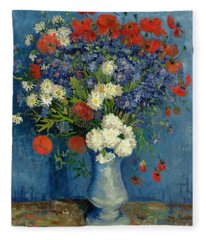 Vase With Cornflowers And Poppies Fleece Blanket