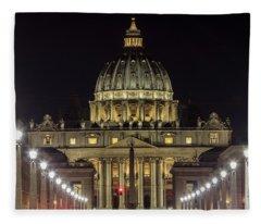 Vatican At Night With Lights  Fleece Blanket