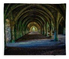 Vaulted, Fountains Abbey, Yorkshire, United Kingdom Fleece Blanket