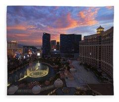 Vegas By Night Fleece Blanket