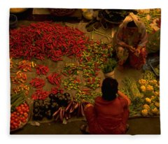 Vegetable Market In Malaysia Fleece Blanket