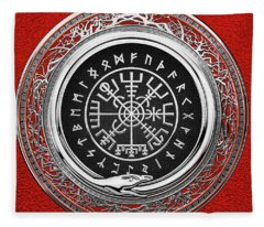 Vegvisir - A Silver Magic Viking Runic Compass On Red Leather  Fleece Blanket