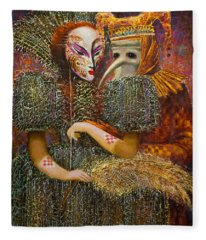 Venetian Masks Fleece Blanket