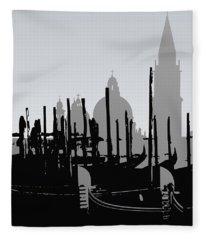 Venice Black And White Fleece Blanket