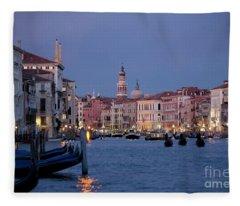 Venice Blue Hour 2 Fleece Blanket
