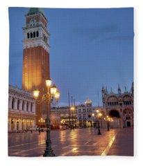 Venice Campanile St. Marks Square Fleece Blanket